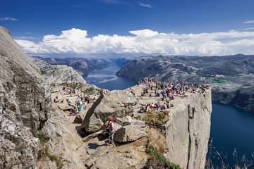 Trekking in Norwegian fjords - view of Preikestolen (aka Pulpet Rock) from the top (Lysefjord)