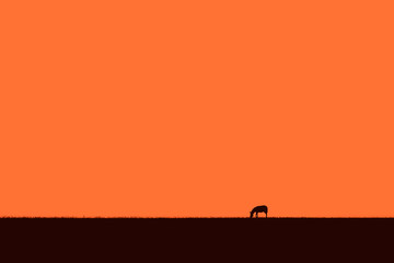 Abstract African skyline with a grazing zebra