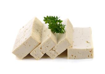 Tofu isolated on white background.