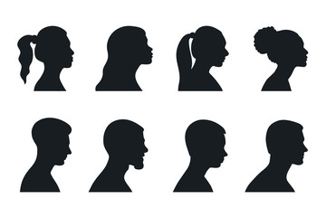Profile  woman and man silhouette portrait