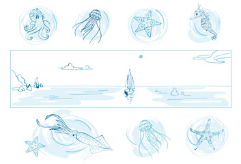 Set of sea theme for your design: octopus, jellyfish, starfish, seahorse, squid, sea landscape with sailboat/Hand drawn the inhabitants of the underwater world and waterscape