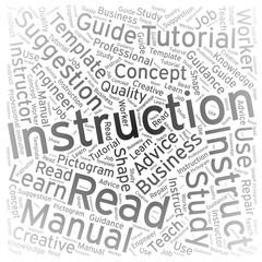 Instruction ,Word cloud art background