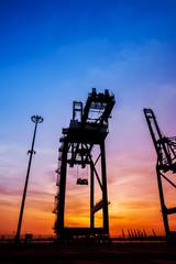 Cargo port in the evening
