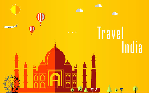 Flat stylish travel background, vector illustration for India, India, Travel and tourism concept - vector eps 10