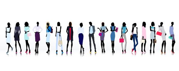 Large group of fashion women