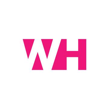 WH Logo. Vector Graphic Branding Letter Element. White Background