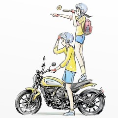 illustration sketch boy and girl riding motorcycle