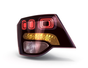 rear car lights isolated on white 3d render