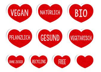 Vegan Sticker Buttons / Rote Herzen Für Veganer