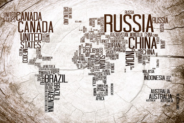 World Map Countries name Typography on Lumber Wooden Background