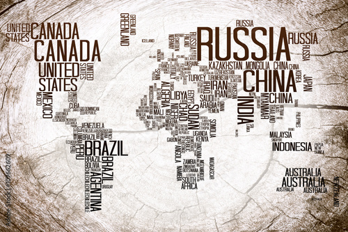 World map countries name typography on lumber wooden background world map countries name typography on lumber wooden background gumiabroncs Image collections
