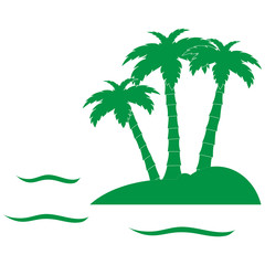Stylized icon of the island with three palm trees surrounded by