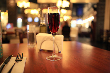 glass of wine in a restaurant
