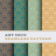 Art Deco seamless pattern with 4 colours background 04