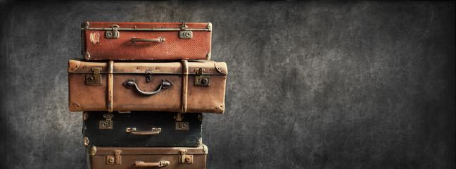Vintage Pile Ancient Suitcases Design Concept Travel
