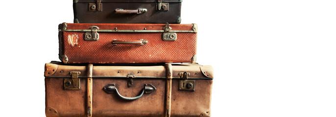 Vintage Ancient Suitcases Design Concept Travel