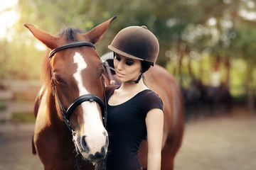 Happy Woman with her Horse