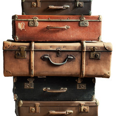 Vintage Ancient Suitcases Luggage Isolated White