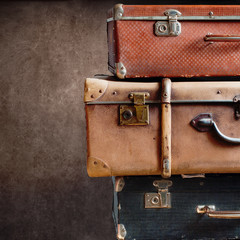 Close up Vintage Pile Suitcases Tower Design Travel