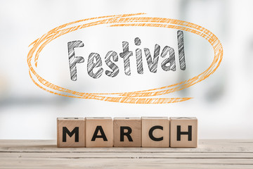 March festival with a wooden sign
