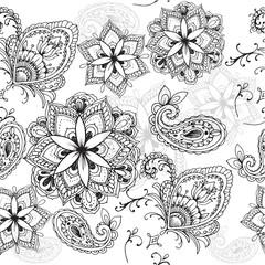 Zentangle Flower seamless pattern