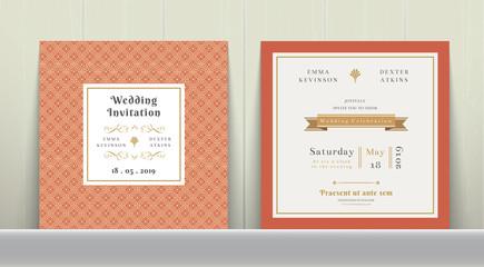 Art Deco Wedding Invitation Card in Gold and Orange