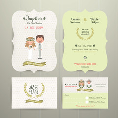 Bride & Groom Cartoon Romantic Farm Wedding Invitation Card and