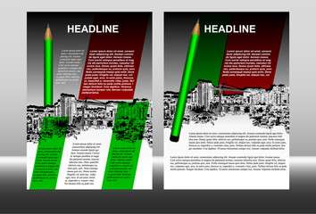 brochure template with cityscape