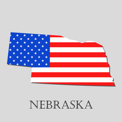 Map State of Nebraska in American Flag - vector illustration.