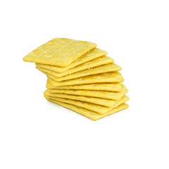 Crackers yellow isolated on white