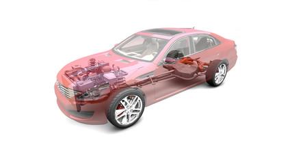 Auto auf weißem  Hintergrund mit transparenter Karosserie