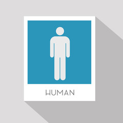 Human at the picture hanging on the wall. Flat design.