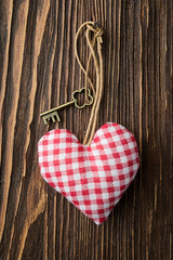 Love hearts on wooden background
