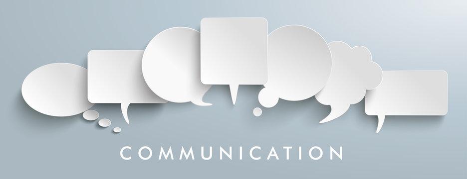 White Paper Speech Balloons Communication Header