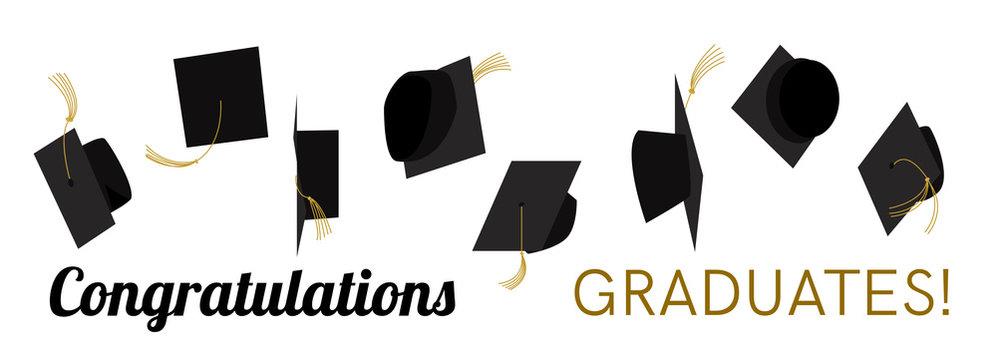 Graduation hat, cap off. Vector.