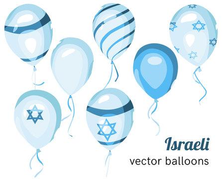 Flag of Israel on balloon. Vector Israeli balloons