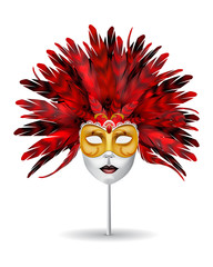 Carnival or masquerade mask with red feathers isolated on white background.