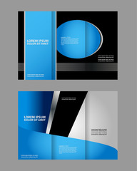 Template design of trifold brochure with stripes and circles. Editable and light vector with places for photos. Proportionally A4
