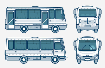 bus front, side, back view line style