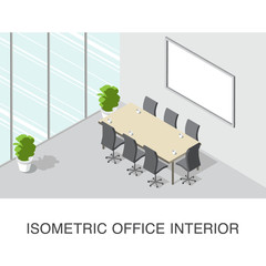 Isometric office  interior concept with desk and chairs and plants vector illustration.