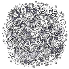 Cartoon hand-drawn doodles Space illustration