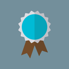 Badge or award ribbon icon in flat style. Vector illustration.