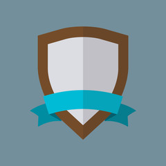 Shield with ribbon icon or sign in flat style. Vector illustration.