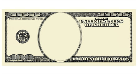 100 Dollar Bill Front with copyspace, isolated for design