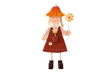 Wooden doll with a flower