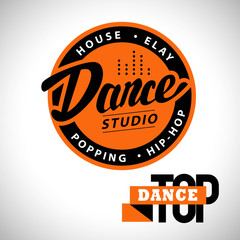 Vector dance studio logo. Dance icon. House, elay, popping, hip-hop. Dance school insignia. Disco club emblem sign. Equalizer label, symbol. Street dance style.