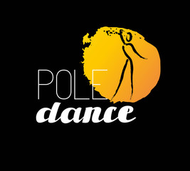 Vector dance studio logo. Dance club icon. Dancing girl icon. Human icon. Stamp. Paint drop isolated. Human figure. Dancing lady silhouette. Pole dance. Dance school insignia.
