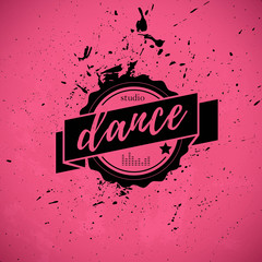 Vector dance studio logo. Dance icon. Music. Rhythm. Dance pole, dance floor icon. Vintage dance icon. Stamp. Paint drops splattered. Modern street dance.