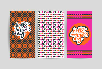 Vector flat holiday hand drawn creative cards. Mother's day, father's day card template.