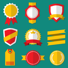 Badges, Stickers, Labels, Shields and Ribbons set. Flat style. Vector vintage illustration.